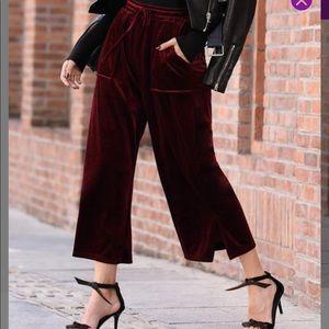 Pants - Berry Tie-Waist Velvet Gaucho Pants